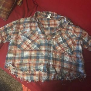 Forever 21 - plaid cut off